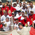 Post-game celebration at Khandahar Air Field, with Lord Stanley's little mug front & centre